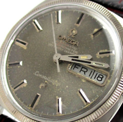 Antique Omega Chronometer C Line Auto Wg Bezel Day Date Silver Watch Used