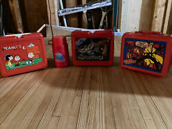 Vintage Lunch Boxes Silver Hawks, Dicky Tracy And Peanuts