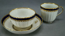 Derby Cobalt And Gold Tea Bowl Coffee Cup And Saucer Trio Circa 1782-1800 B