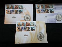 All 3 Star Wars Silver Proof Medal And Stamp Covers - Limited Edition