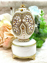 Antique First Birthday Gift For Girl Baby Shower Faberge Egg Music 24k Gold Hmde
