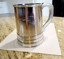 Pottery Barn Antique Silver Nfl Beer Stein Mug.new England Patriots Logo And Daddy