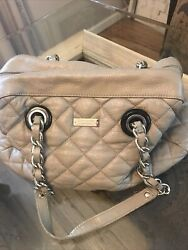 Classic Kate Spade Soft Beige Leather Quilted Purse - Gold Chain Straps