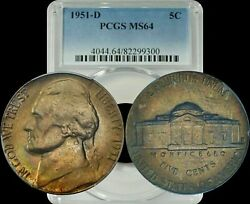 1951-d Jefferson Nickel Pcgs Ms64 Very Sought After Toning For Collectors