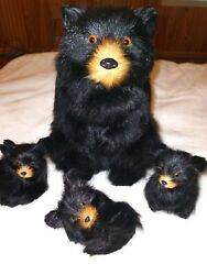 Vintage Momma And Baby Black Bears-replica Figurines Made W/real Rabbit And Goat Fur