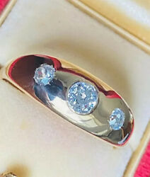 Antique 18k Gold Mens 1.18 Ct 3 Diamond Gypsy Ring Old Mine Cut Band 5th Ave Nyc