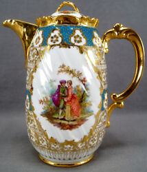 Klemm Dresden Hand Painted Watteau Scene Turquoise And Gold Chocolate Pot C. 1900