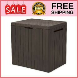 City 30 Gallon Resin Deck Box For Patio Furniture, Pool Accessories, And S