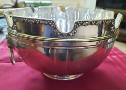 A Stunning Rare Solid Silver Lion Head Planished Montieth Punch Bowl