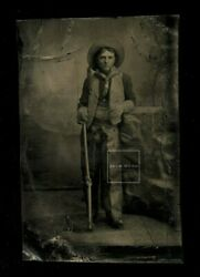 Antique Tintype Armed Cowboy Chaps Gloves And Holding Rifle - Native American