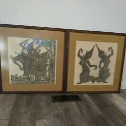 Lot Of Two Thailand Thai Dancers Temple Rubbing