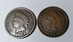 1902 P 1905 Indian Head Penny One Cent 1c