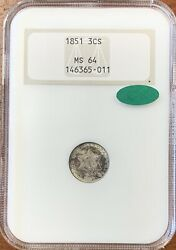 1851 Three Cent Silver Ngc Ms64 Cacnice Coin