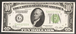 """1928 B Ten Dollar Bill 10 """"redeemable In Gold"""" Federal Reserve Note 35009"""