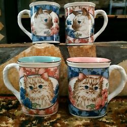 Set Of 4 Vintage Takahashi San Francisco Cat/floral Square Cups W/rope Handles