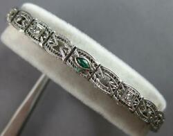 Antique .2ct Old Mine Diamond And Aaa Emerald 14k White Gold Tennis Bracelet 27522