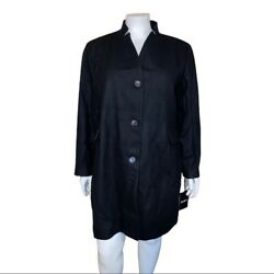 Dkny Plus Size Stand Collar Black Wool Coat Size 3x Nwt