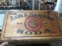 Antique Vintage Arm And Hammer Soda Wooden Box Crate Finger Jointed Deadwood Sd