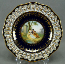 Klemm Dresden Hand Painted Watteau Scene Cobalt And Gold Reticulated 9 1/2 Plate