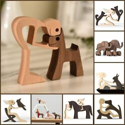 Family Puppy Wood Dog Figurine Carving Wooden Love Pet Cat Sculpture Home Decor