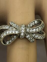Vintage.925 Sterling Silver Ring, Size 10 With 3.1 Grams. Delicate Bow Design