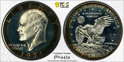 1971-s Eisenhower Ike Dollar Pcgs Pr67 Cam Silver Proof Toned Color Choice