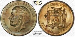 1974-fm Jamaica 5 Dollars Pcgs Ms66 Beautiful Toned Pop 2 Only 6 Higher