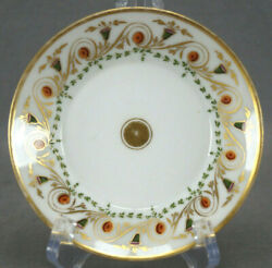 Rare Ludwigsburg Hand Painted Neoclassical Orange Green And Gold Saucer C1806-1816