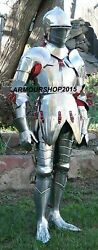 Medieval Knight Viking Full Body Armor Suit Silver Finish Halloween Costume