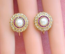 Antique Victorian .60 Rose Diamond Pearl Ruby Halo Screw-on Clip Earrings C1880