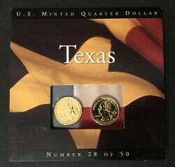 2004 P And D Texas State Quarters U.s. Mint Bu Coins 24k Gold Plated