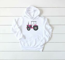 Women's Tractor Hoodie, Pink Plaid Tractor, Unisex,youth And Adult Sizes, Hooded