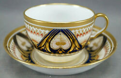Spode Pattern 685 Cobalt Red And Gold Tea Cup And Saucer Circa 1804-1815 A