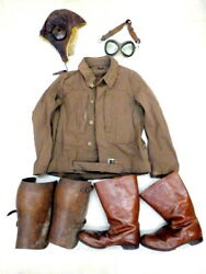 Rare Army Navy Air Corps Glasses Cap Jacket Gaiters Boots Military Antique Japan