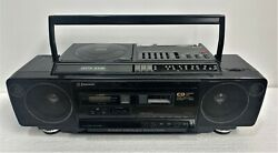 Vintage 1990 Emerson Cd Cassette A.m. F.m. Ac 2503 Boombox Portable Stereo 2.2