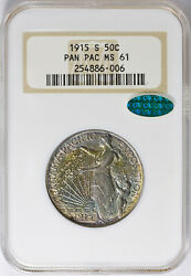 1915-s Pan Pac Commemorative Half Ms-61 Ngc/cac Certified - Color