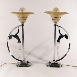 Superb Matching Pair Art Deco Chrome Modernist Silhouette Lady Table Lamps
