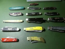 Vintage Pocket Folding Knives Lot 15, Buck, Imperial, Colonial, Schrade, Camco