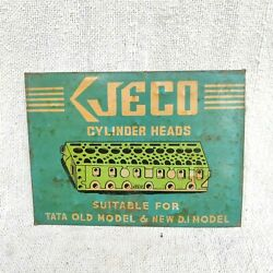 Vintage Jeco Cylinder Heads Graphics Automobile Tin Sign Board Rare Advertising