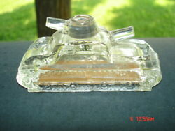 Vintage Old Glass Candy Container U.s.a. Military Tank 2 Cannons Mid Century