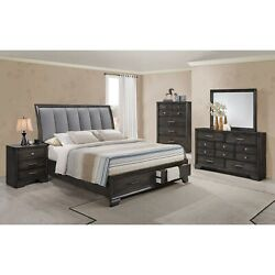 New 4-pc Master Bedroom Set King Size Storage Drawers Bed Grey Finish Wooden