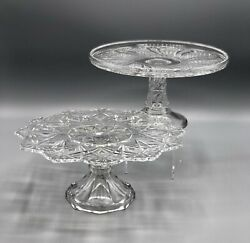 Eapg Lot Of 2 Antique Cake Stands Mckee, Us Glass /b