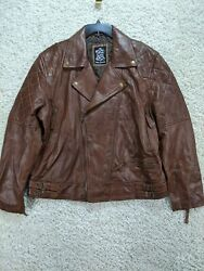 Real Leather Women#x27;s Jacket XL Brown Zippers Pockets NEW 2044 $44.99