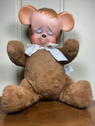 Vintage Knickerbocker Pouting Animals Teddy Bear Plush Rubber Face W/tag 1950's