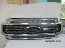 2020-22 Ford F250 F350 Lariat Chrome Grille With Black Ford Emblem W/cam Hole