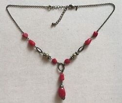 Vintage Lariat Necklace Gothic Antiqued-brass Tone Red Resin Bead Nrt 17-20