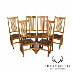 Mission Style Custom Quality Set 6 Oak Spindle Dining Chairs