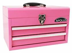 Apollo Tools Pink Metal Tool Box With Deep Top Compartment And 2 Drawers In H...