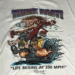 Rat Fink Autographed Vintage T-shirt Signed By Ed Big Daddy Roth 1999 Rare
