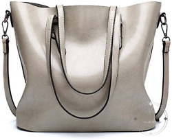 Womens Leather Purses and Handbags Top Handle Satchel Bags Tote Bags Grey $28.63